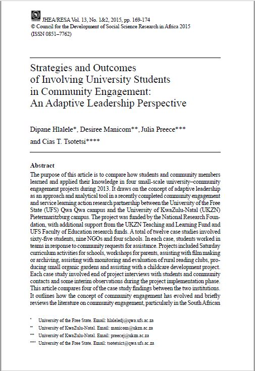 Strategies and Outcomes of Involving University Students in Community Engagement
