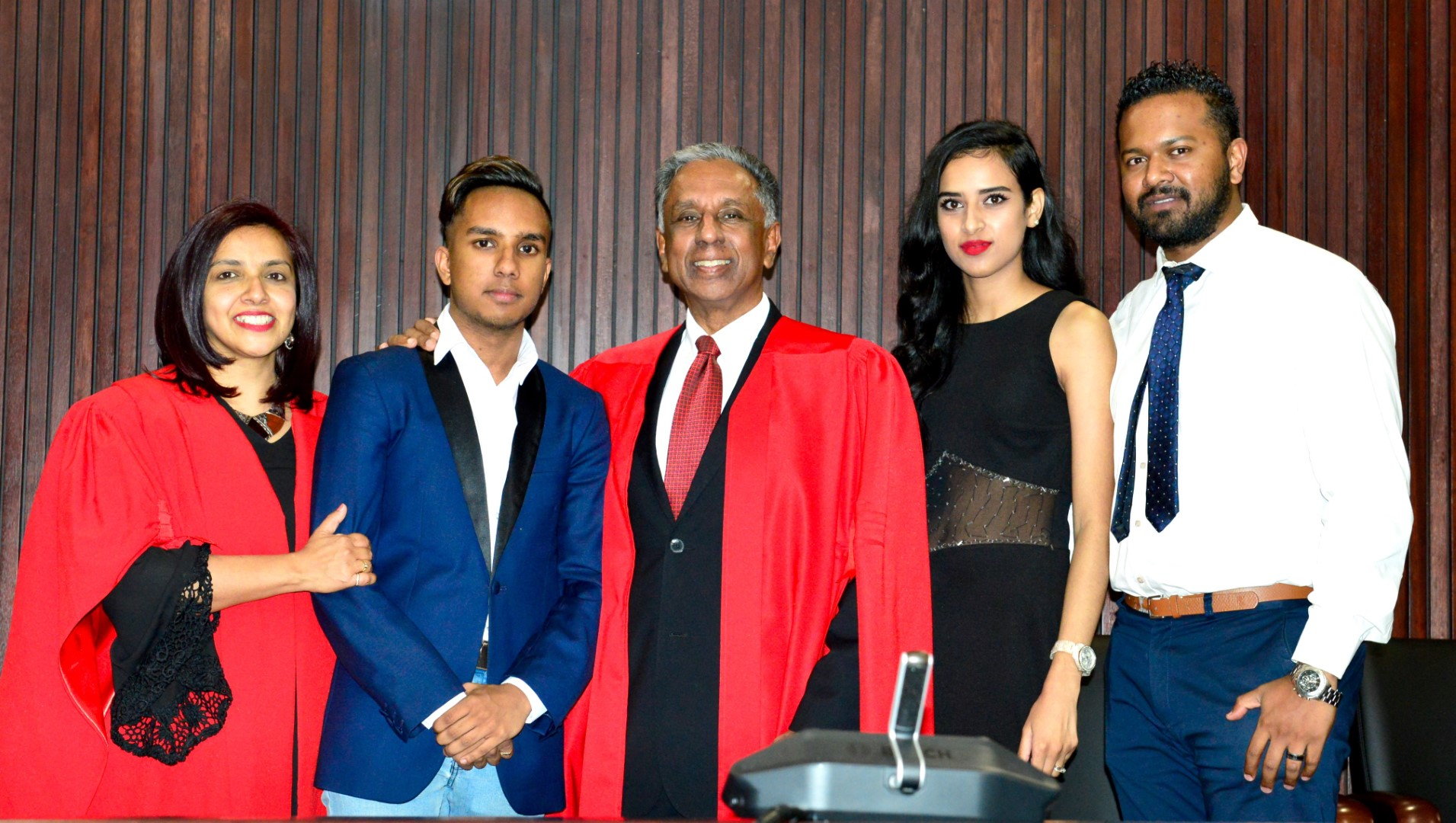 From left: Professor Maheshvari Naidu with family, Kialan Pillay; Professor Kriben Pillay, Lisa Naidu and Creeson Naidu.