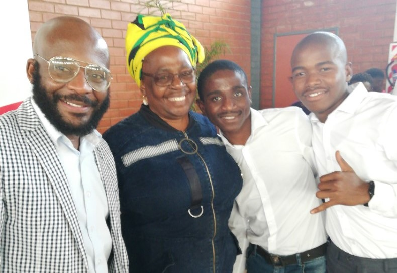 At the career exhibition in Imbali were (from left) UKZN's Mr Feruzi Ngwamba, the ANC's regional leader Ms Sbongile Mkhize, and 325 Lifestyle representatives Mr Nhlanhla Ndlovu and Mr Luyanda Meyiwa.