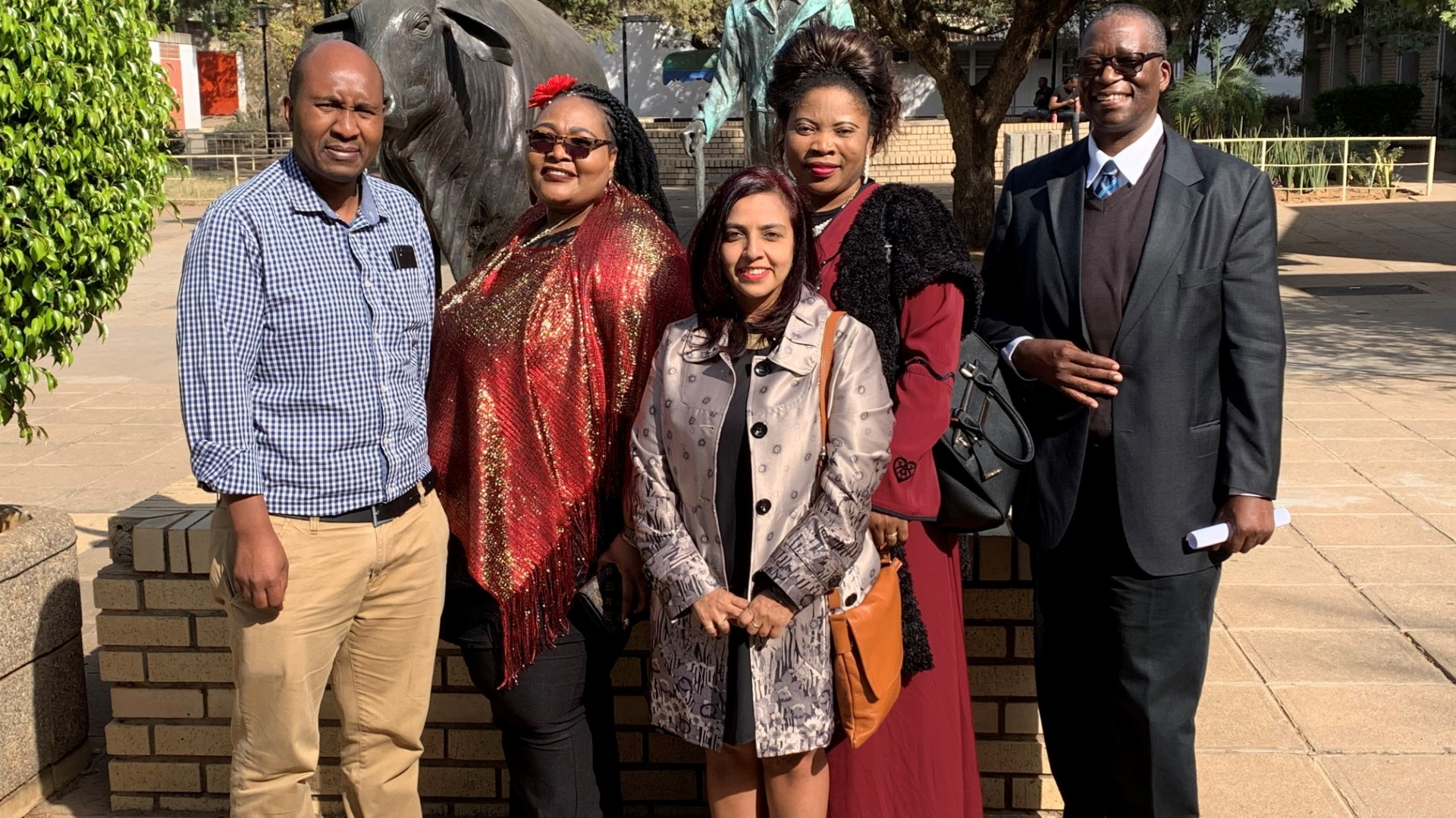 At the University of Botswana are academics (from left) Mr Sifiso Zulu, Dr Christina Kgari-Masondo, Professor Maheshvari Naidu, Professor Vivian Ojong, and Professor Andy Chebanne.
